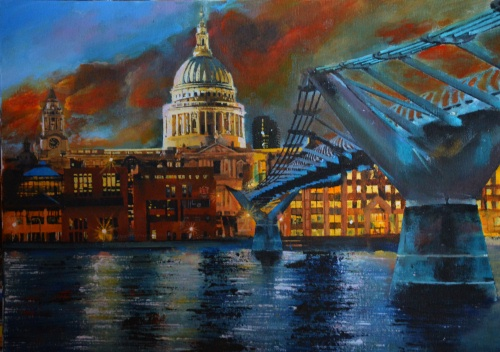 st paul s at night acrylic on canvas paul mcintyre pictures uk